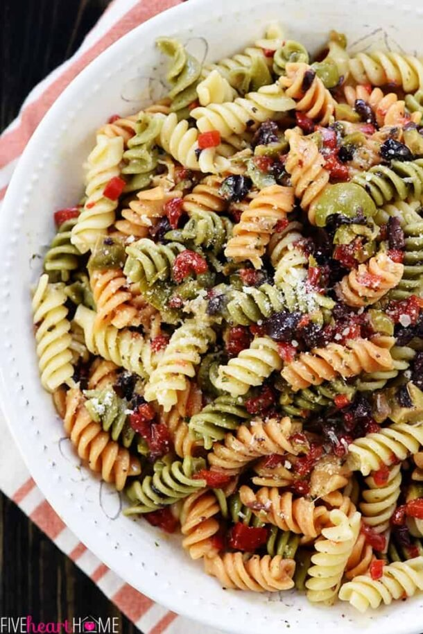 easy pasta salad with tricolored noodles