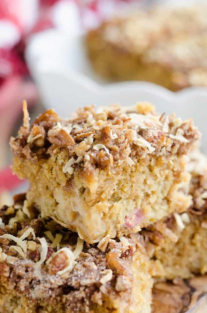 Rhubarb Streusel Coffee Cake stacked