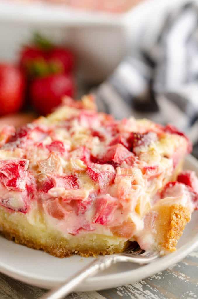 Strawberry rhubarb custard on white plate