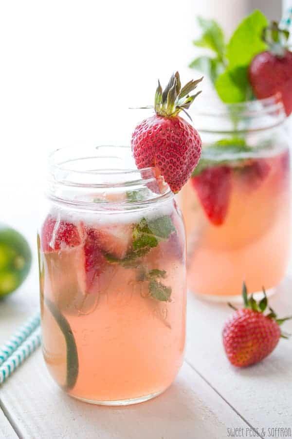 Strawberry Rhubarb Rosé Sangria in mason jars