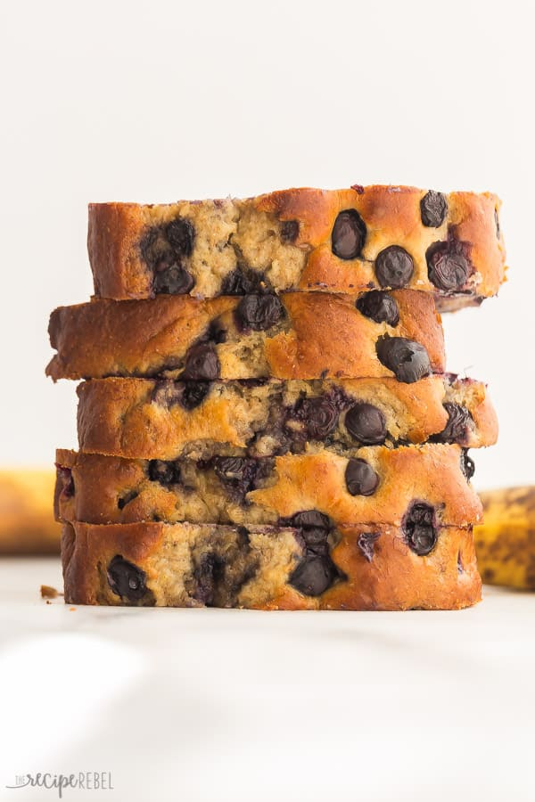 blueberry banana bread stack of 5 pieces