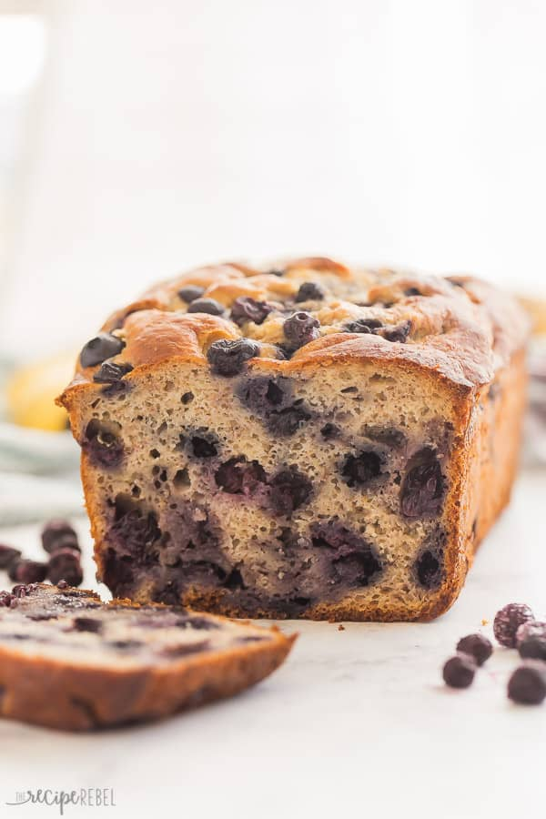 blueberry banana bread with one slice cut close up