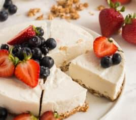 yogurt breakfast tart with fruit sliced