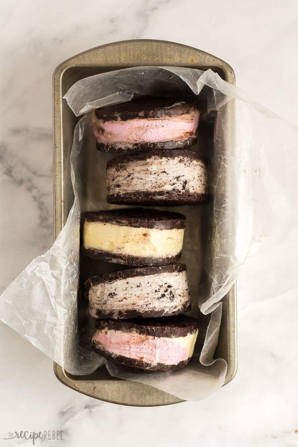 ice cream sandwiches in tin