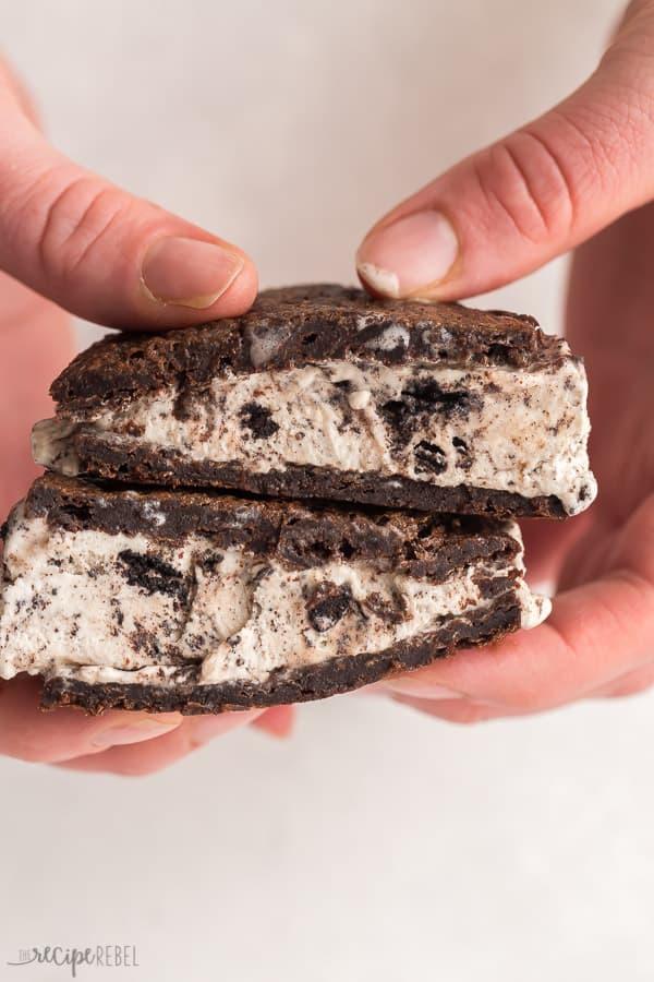 ice cream sandwich cut in half