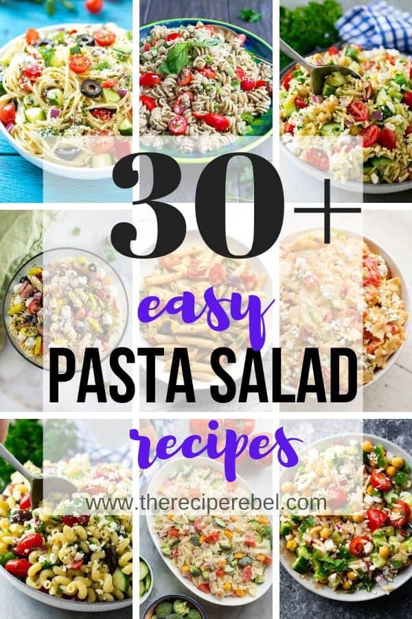 easy pasta salad recipes collage with 9 images