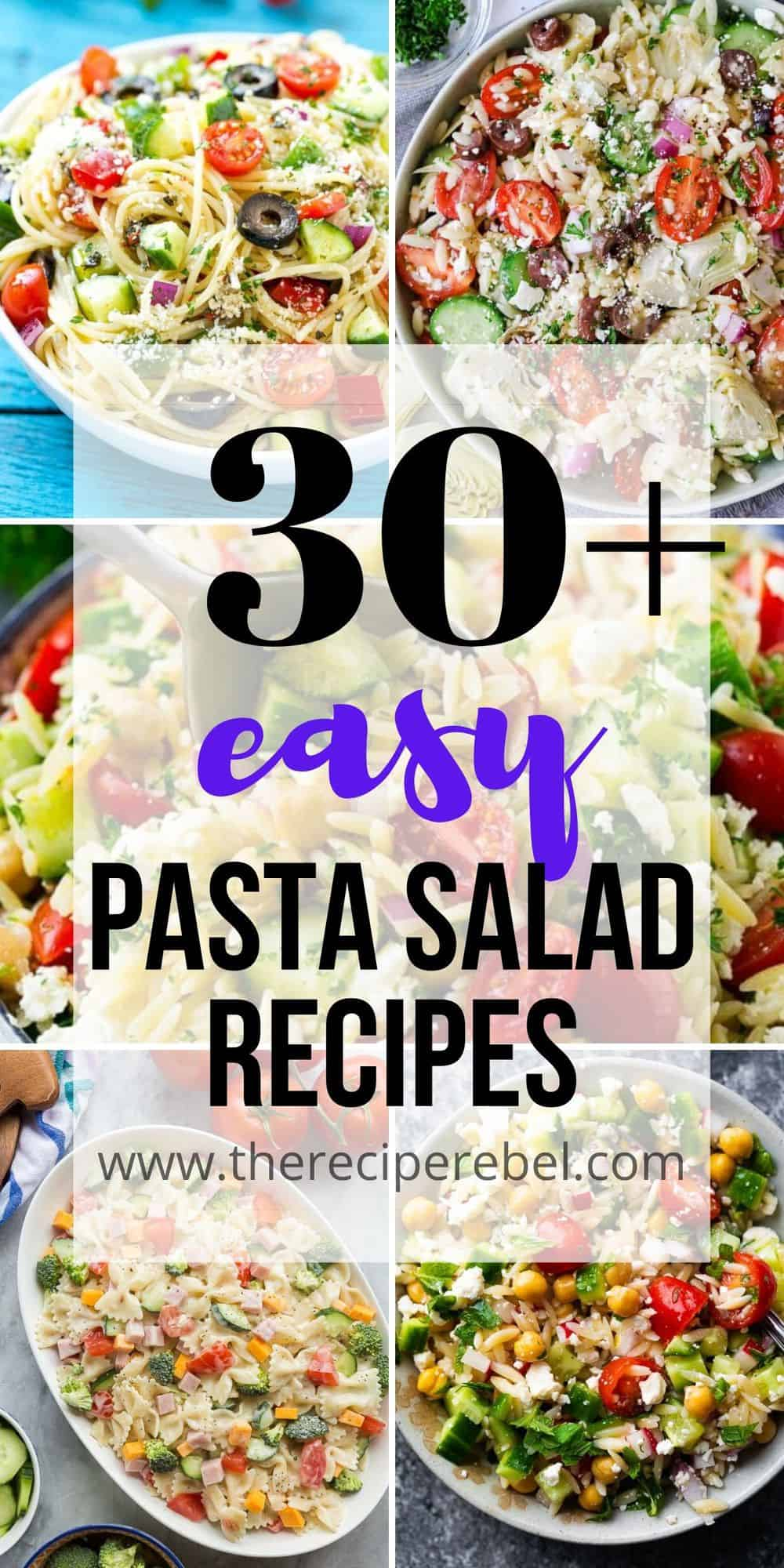 pasta salad recipes collage long with 5 pasta salad images and title