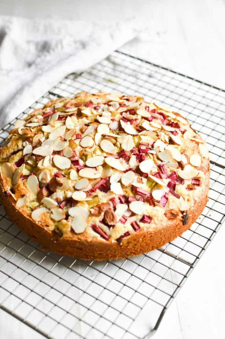 Rhubarb Streusel Coffee Cake on baking rack