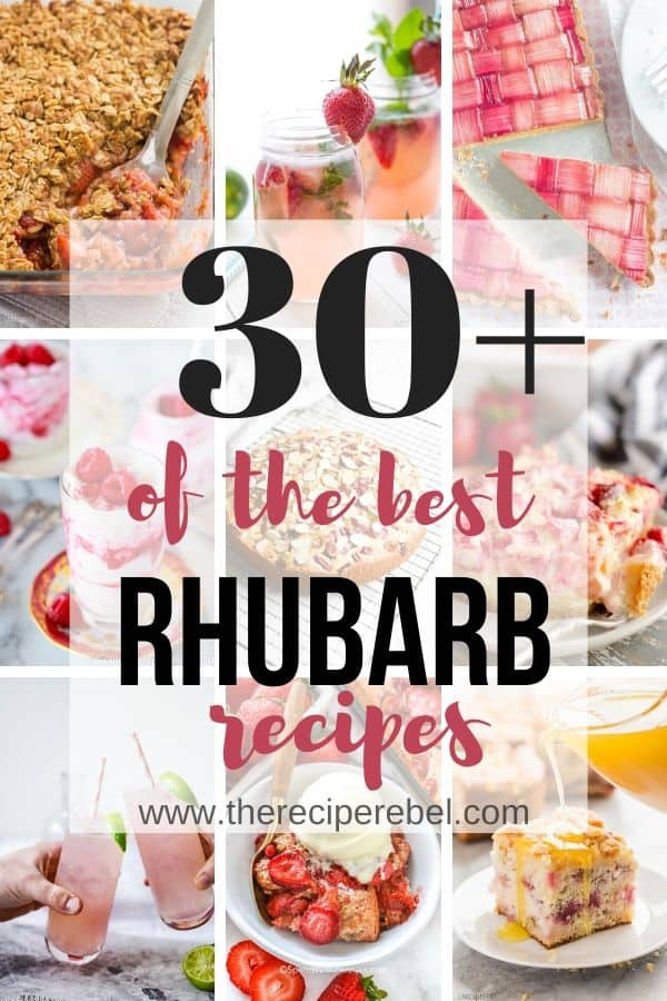 30 rhubarb recipes collage with title