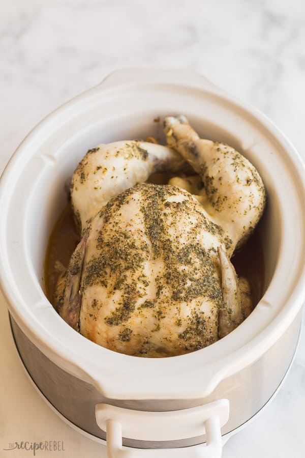 slow cooker whole chicken in crockpot before broiling