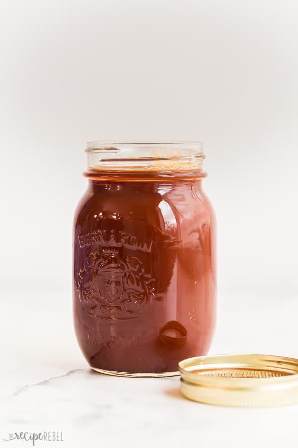 homemade bbq sauce in mason jar