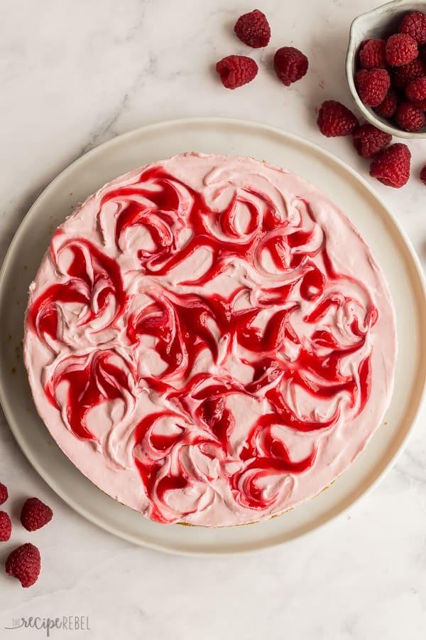 no bake raspberry cheesecake whole