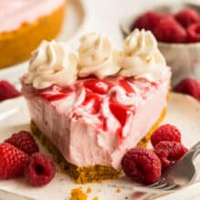 no bake raspberry cheesecake with bite