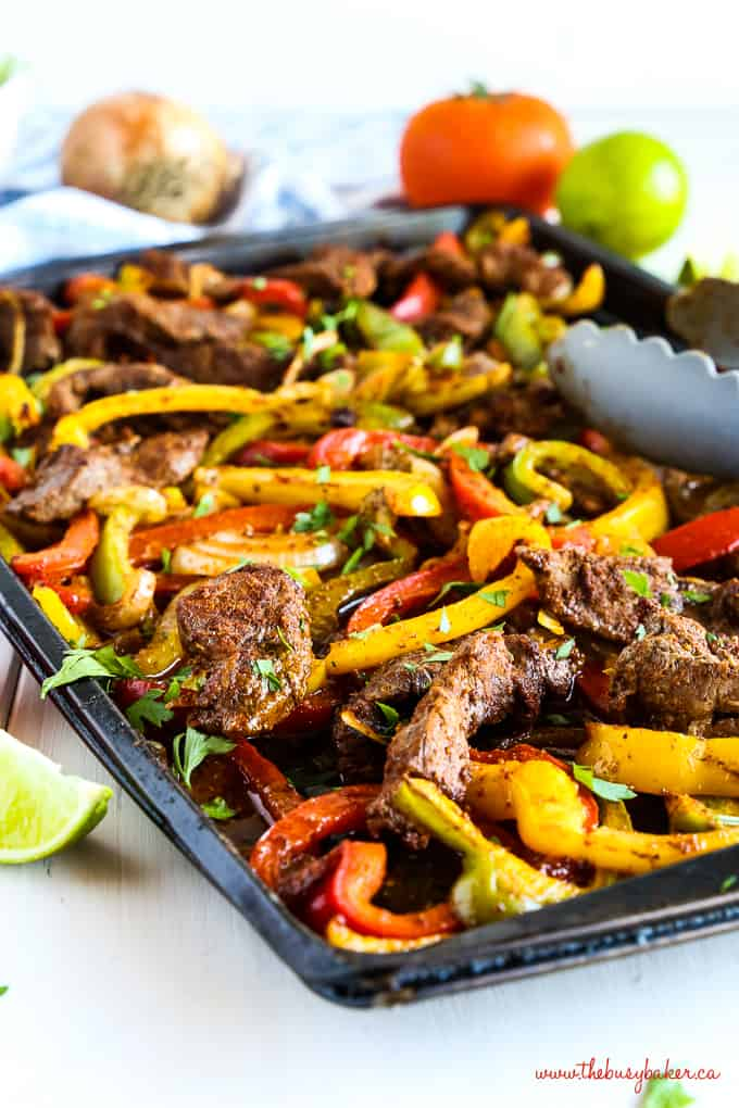 Fajitas meat and veggies on sheet pan