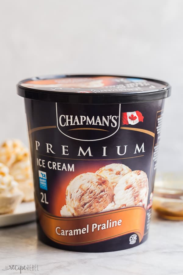 caramel praline ice cream tub chapman's