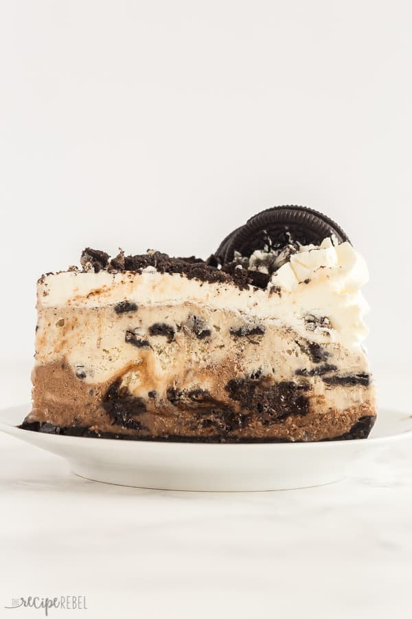 oreo ice cream cake slice on white plate with white background