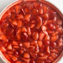 fresh strawberry sauce overhead in white pan