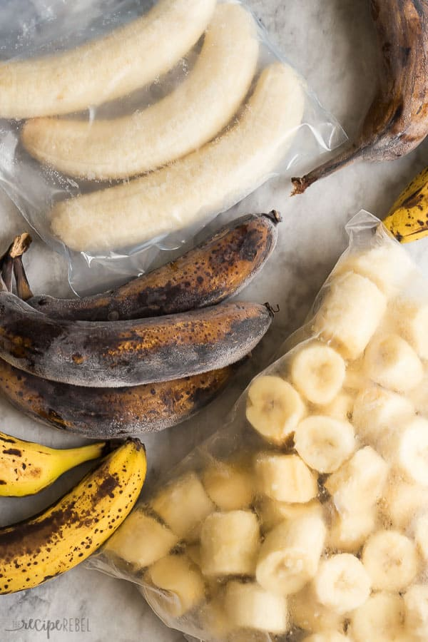 bananas in lots of different forms frozen black yellow with brown spots peeled and frozen and frozen banana chunks