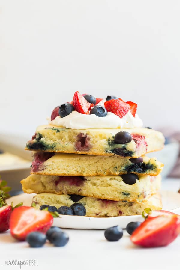 stack of four pieces of sheet pan pancakes