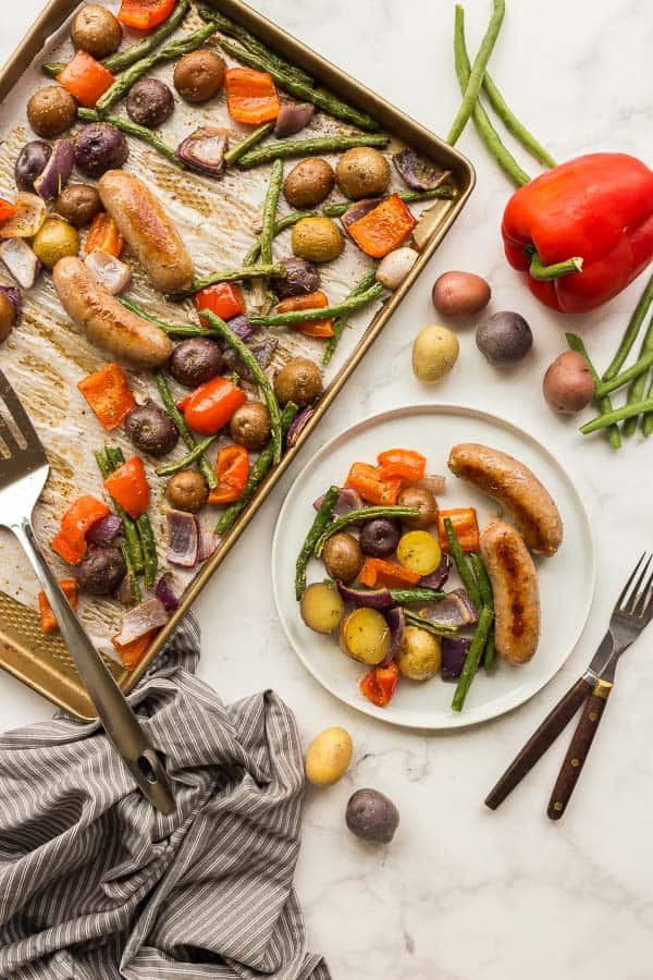 overhead image of sheet pan and plated meal with potatoes pepper and green beans
