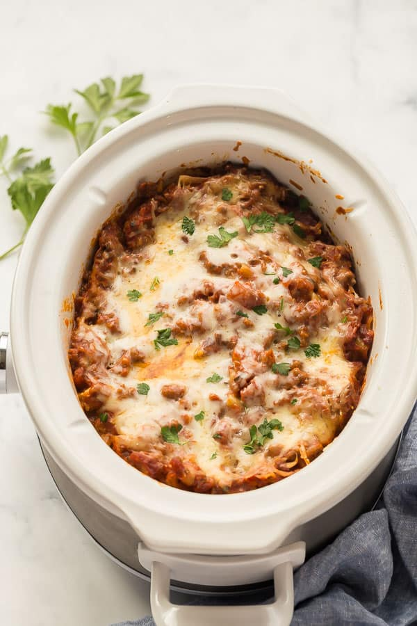 close up image of whole lasagna in crockpot