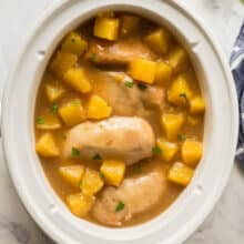 crockpot pineapple chicken breasts in slow cooker overhead
