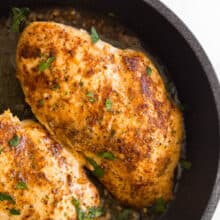 close up image of one pan sauteed chicken breast