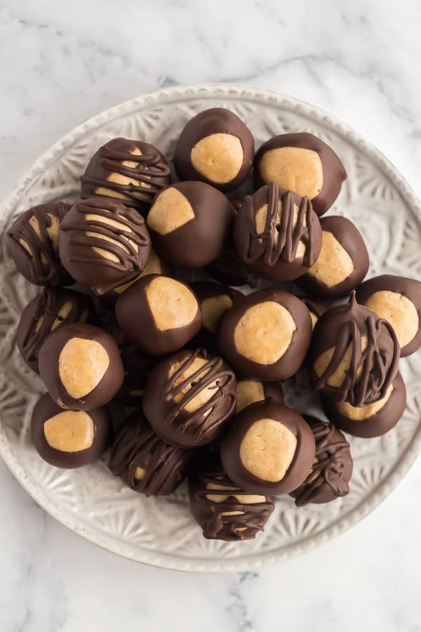overhead image of peanut butter balls coated in chocolate