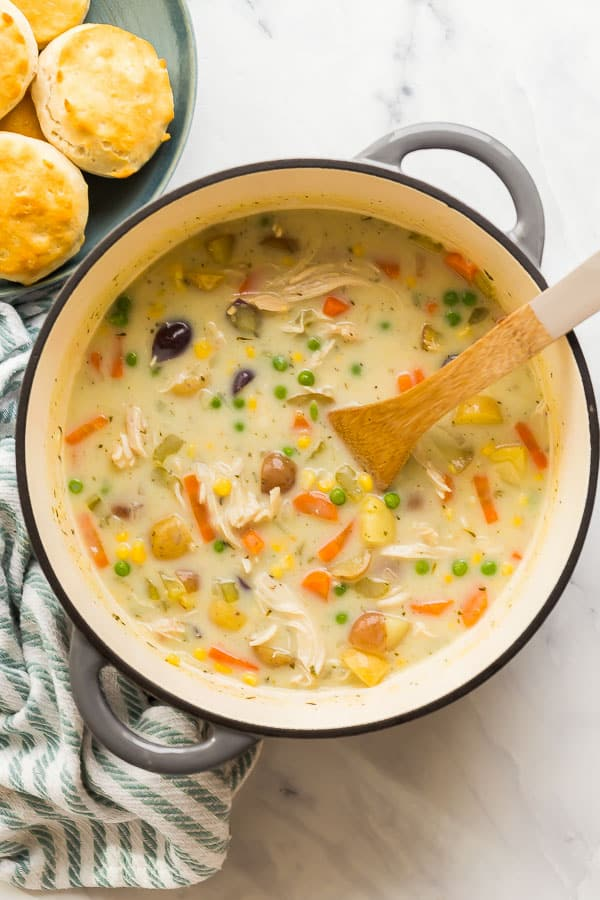 overhead image of chicken pot pie soup in dutch oven