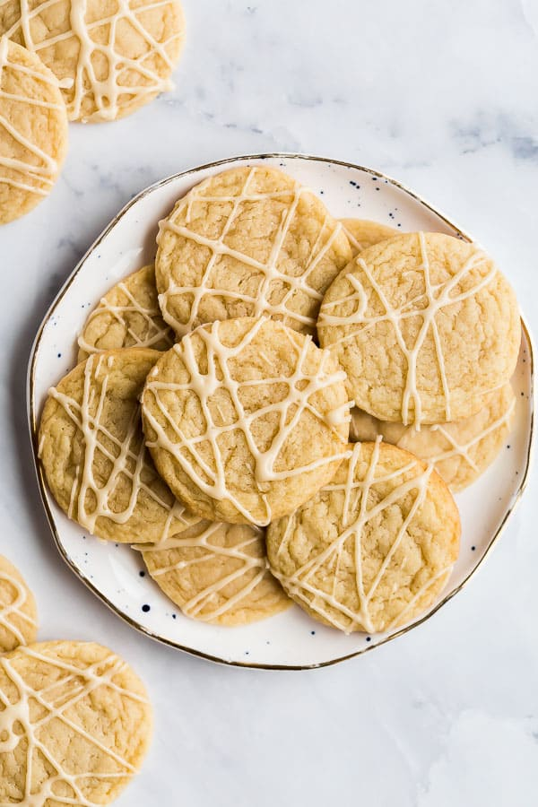 overhead image of maple cookies on white plate