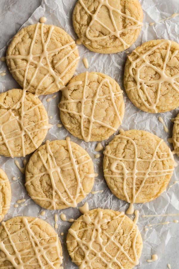 overhead image of maple sugar cookies on wax paper