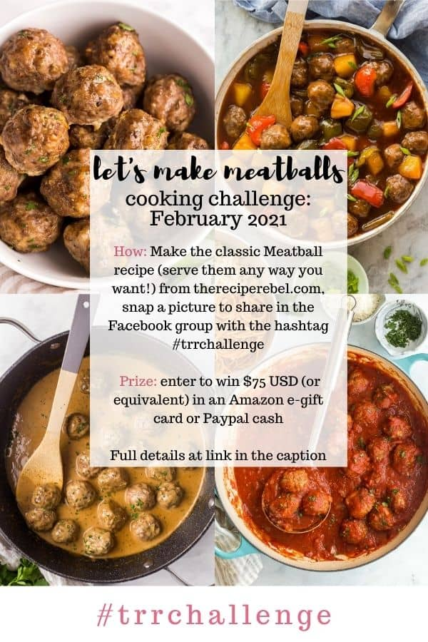 february cooking challenge information image with four photos of meatballs