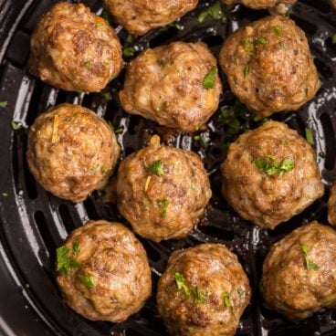 air fryer meatballs cooked in air fryer basket