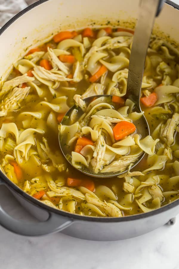 ladle scooping chicken noodle soup from pot