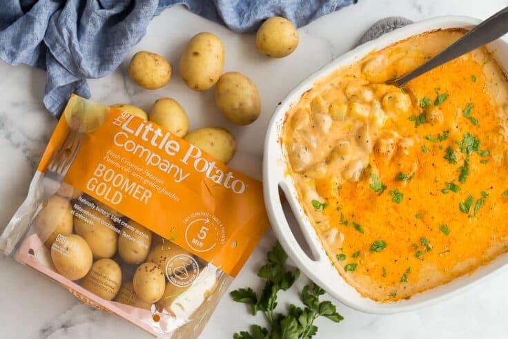 overhead image of potato casserole with bag of Little Potatoes