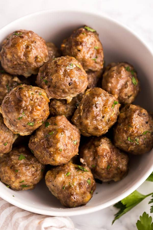 easy meatball recipe baked and in white bowl
