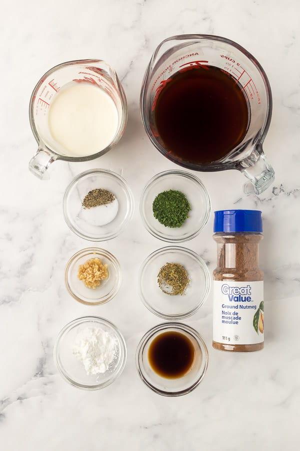 overhead image of swedish meatball sauce ingredients
