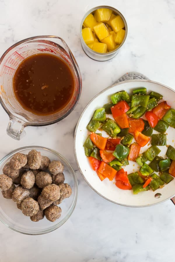 overhead image of sweet and sour meatballs ingredients