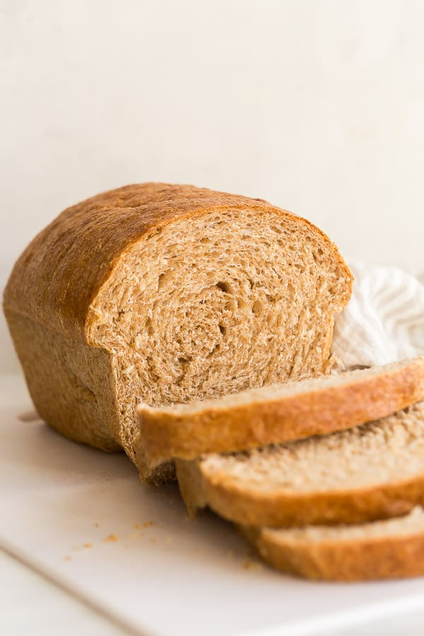 whole wheat bread with two slices cut