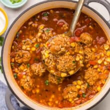 overhead image of albondigas soup in large dutch oven