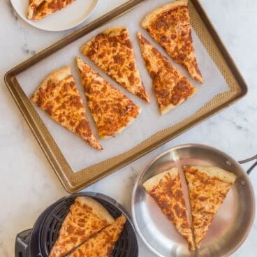 overhead image of different ways to reheat pizza