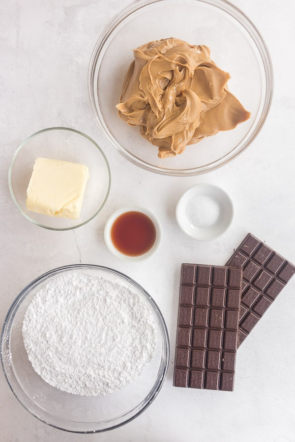overhead image of ingredients for peanut butter eggs