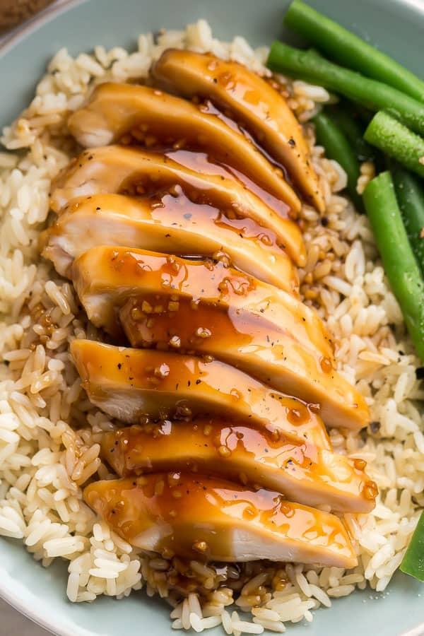 close up image of sliced honey garlic chicken breast
