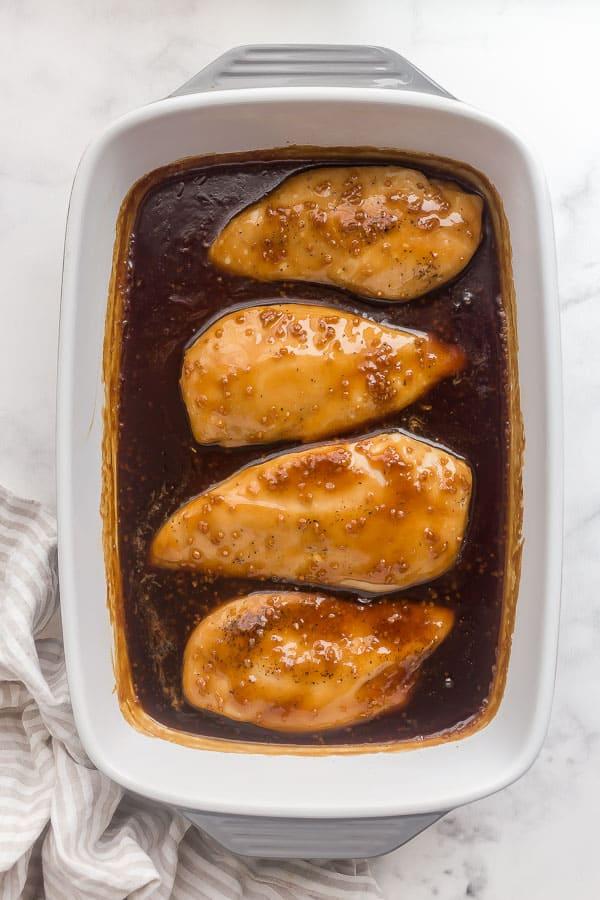 four chicken breasts baked in honey garlic sauce