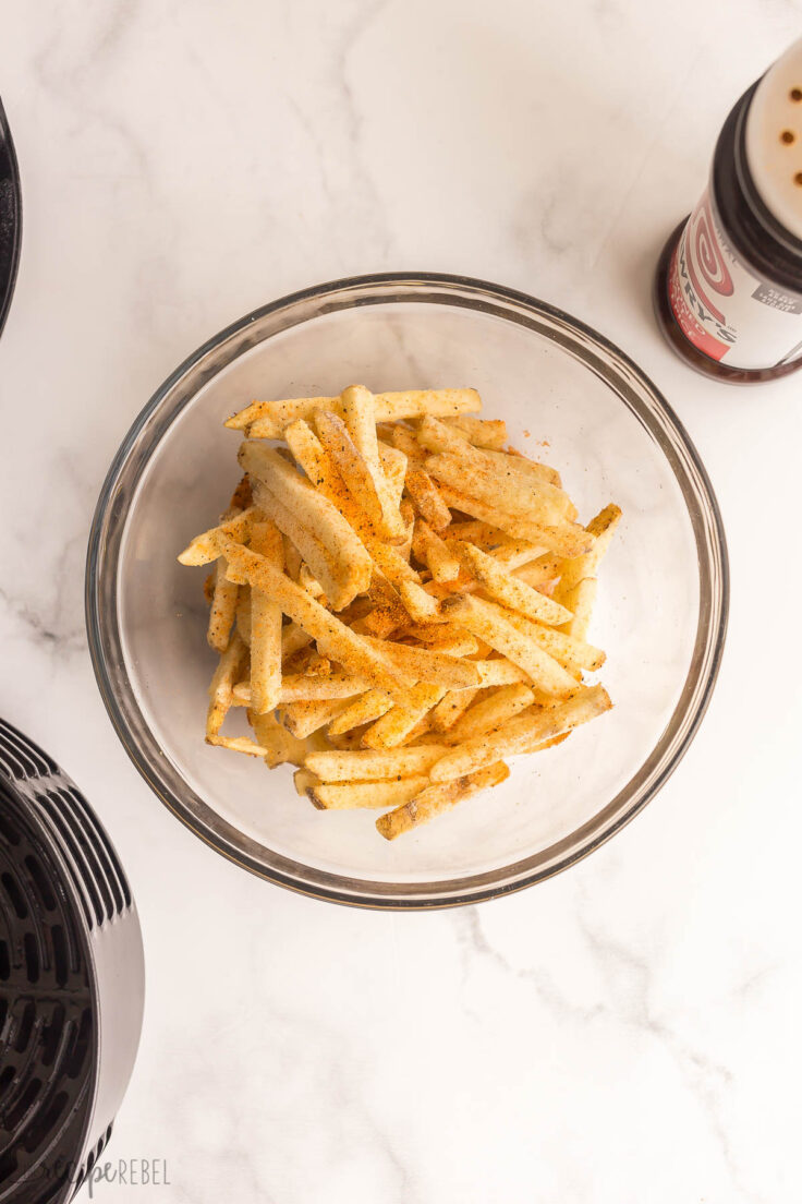 frozen french fries in bowl with seasoning