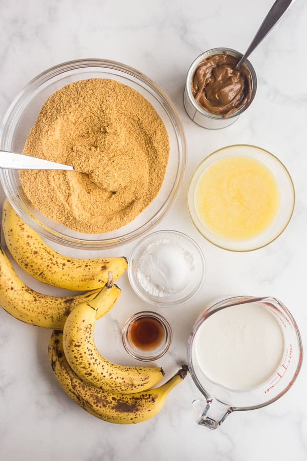 overhead image of ingredients for banoffee pie