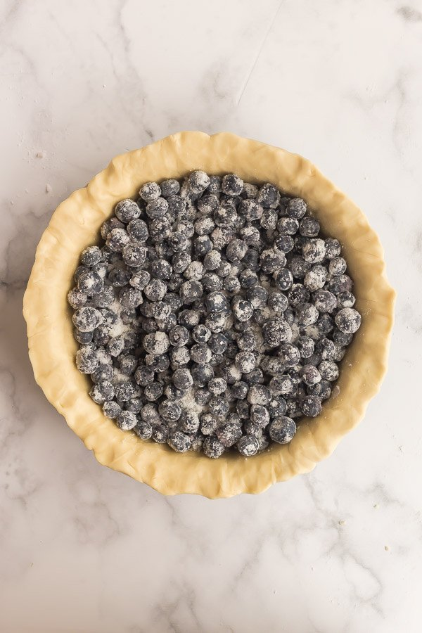 blueberries with corn starch and sugar in pie crust