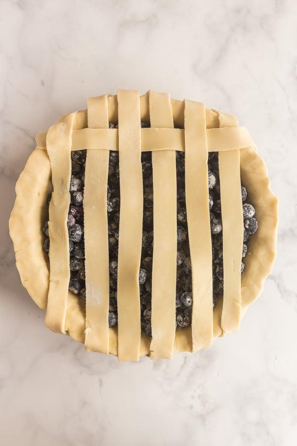 lattice pie crust in progress