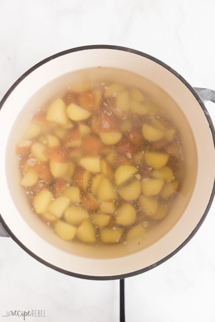 boiling potatoes in a large pot