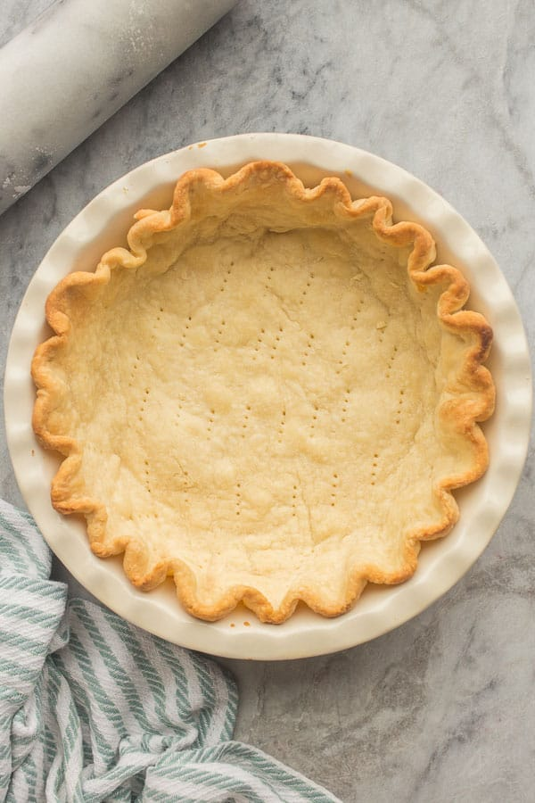overhead image of blind baked pie crust